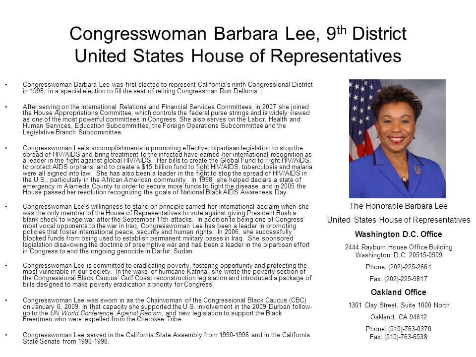 Congresswoman Barbara Lee, 9th District United States House of Representatives