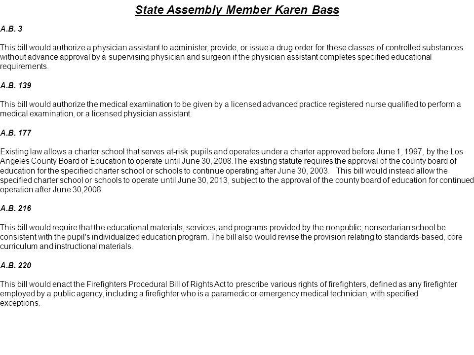 State Assembly Member Karen Bass