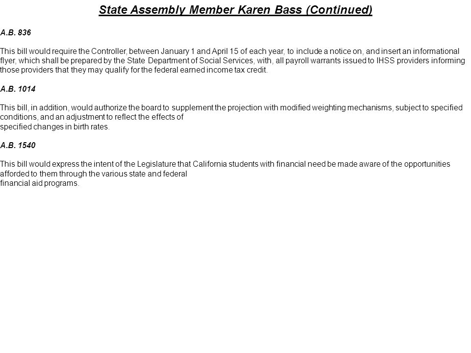 State Assembly Member Karen Bass (Continued)