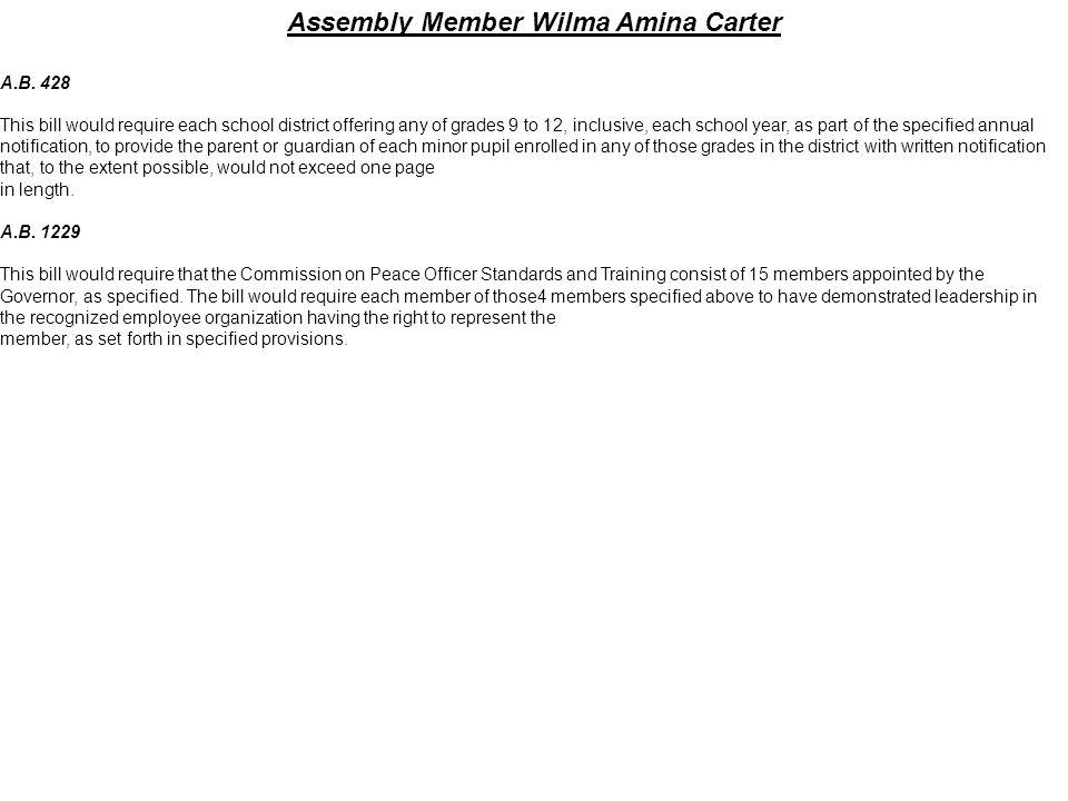 Assembly Member Wilma Amina Carter