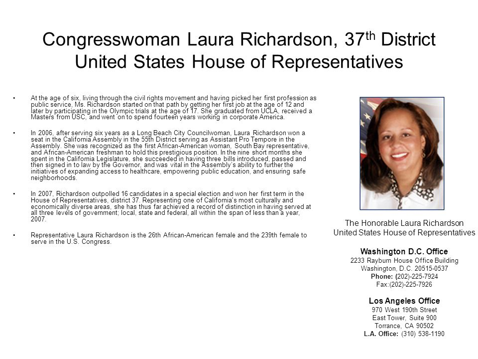Congresswoman Laura Richardson, 37th District United States House of Representatives
