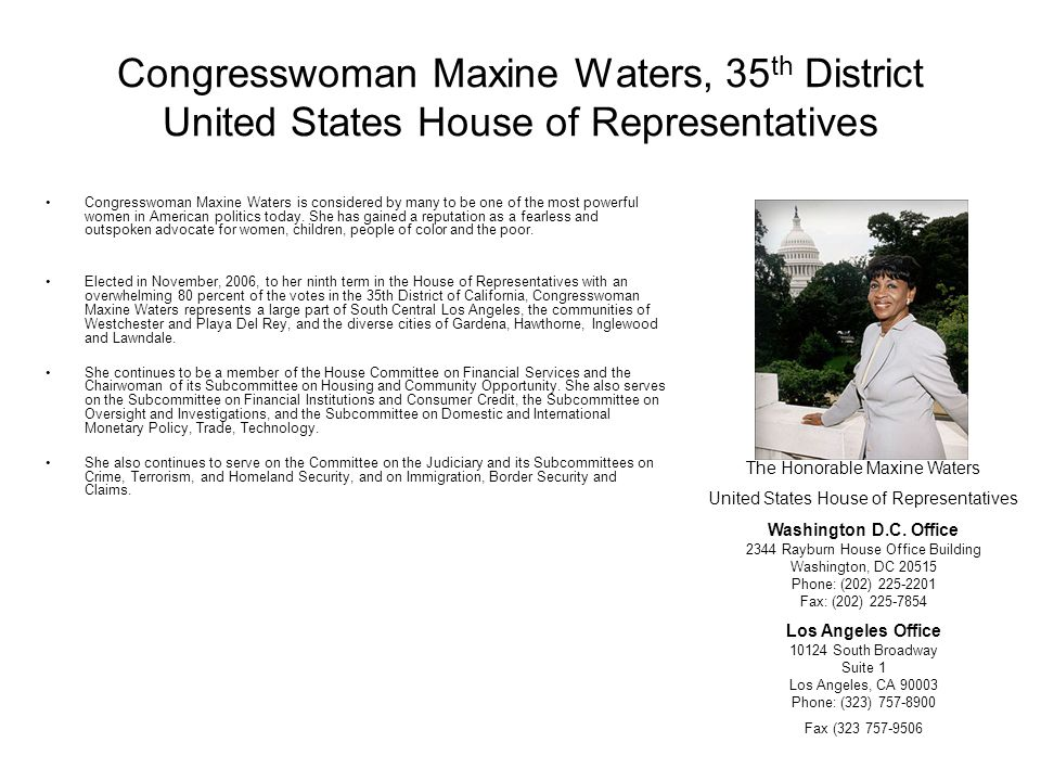 Congresswoman Maxine Waters, 35th District United States House of Representatives