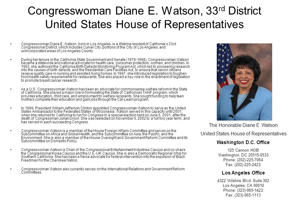 Congresswoman Diane E. Watson, 33rd District United States House of Representatives