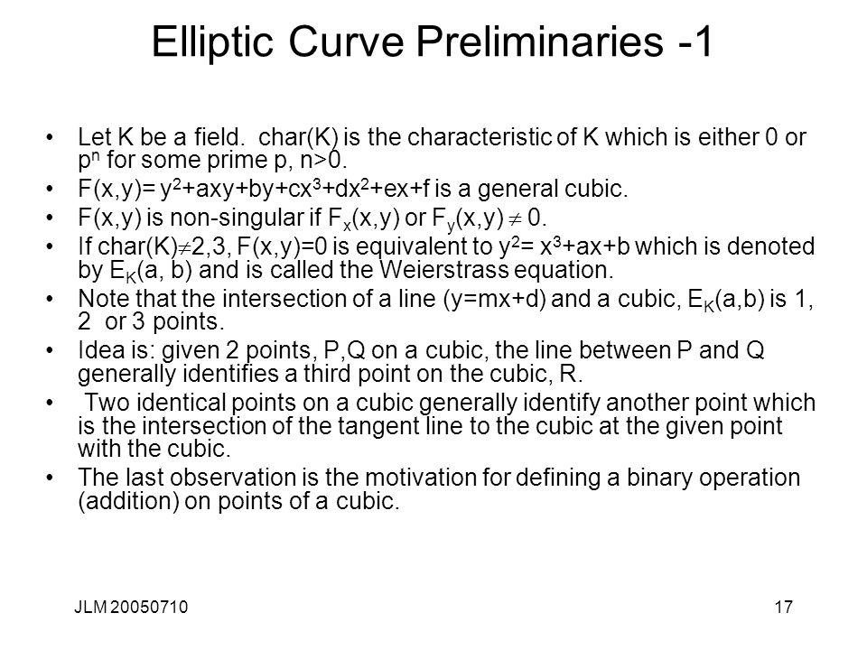 Elliptic Curve Preliminaries -1