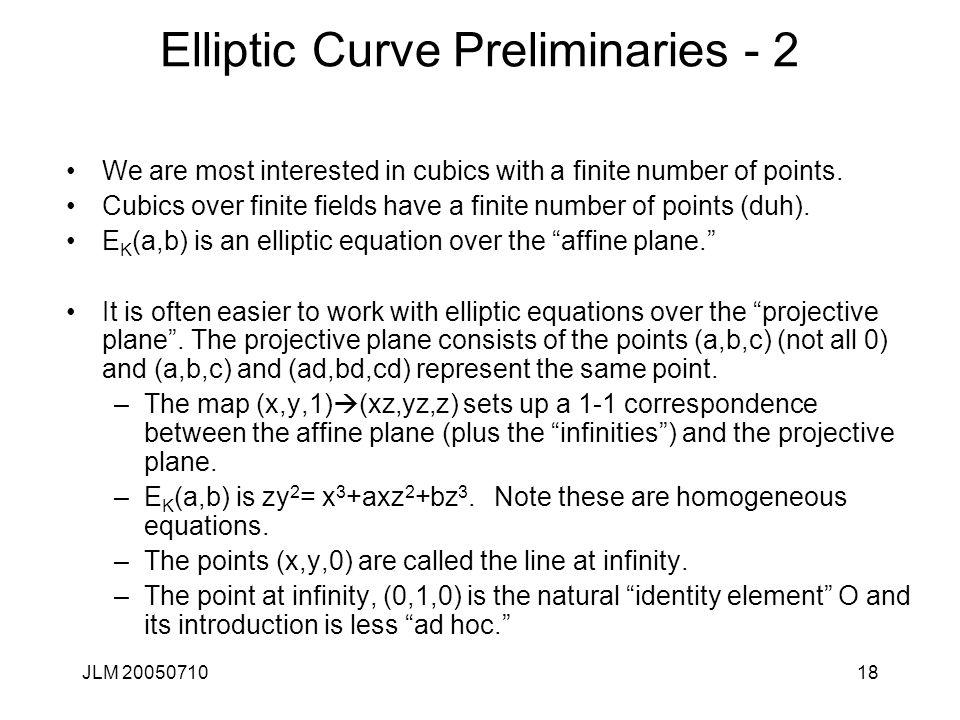 Elliptic Curve Preliminaries - 2