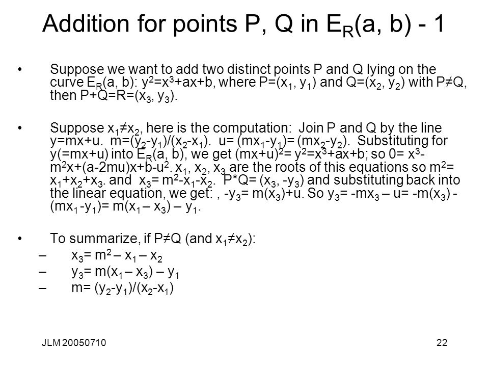 Addition for points P, Q in ER(a, b) - 1
