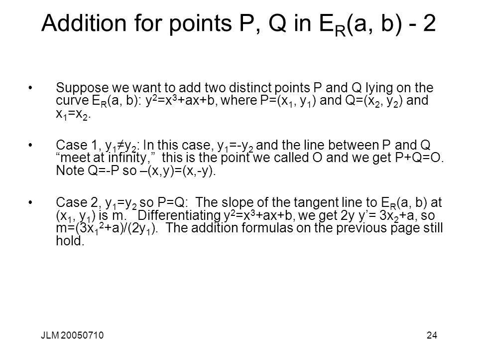Addition for points P, Q in ER(a, b) - 2