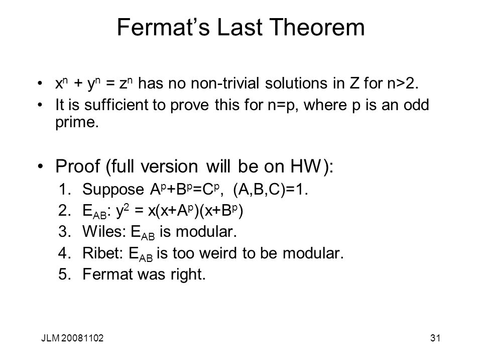 Fermat's Last Theorem Proof (full version will be on HW):