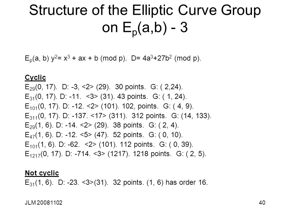 Structure of the Elliptic Curve Group on Ep(a,b) - 3