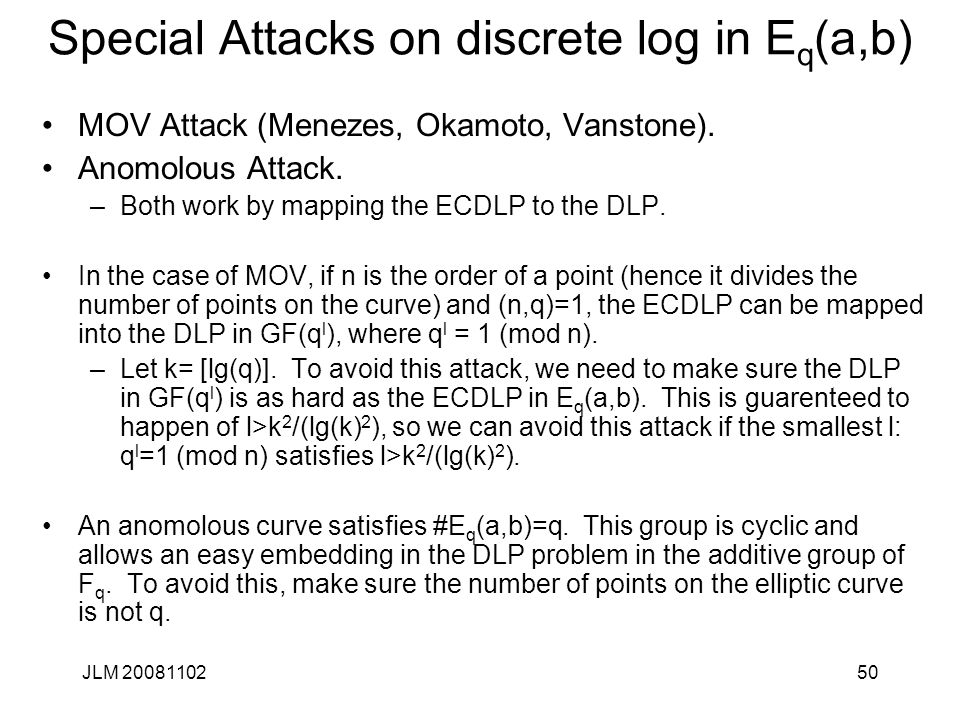 Special Attacks on discrete log in Eq(a,b)