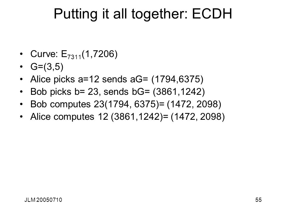 Putting it all together: ECDH