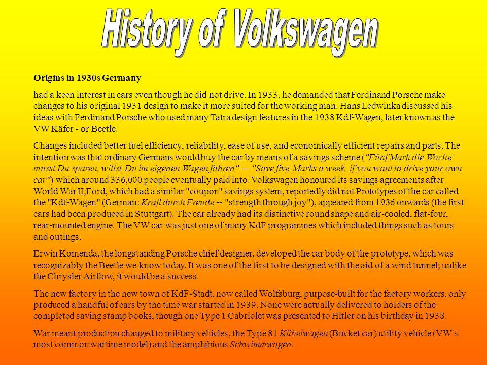 History of Volkswagen Origins in 1930s Germany