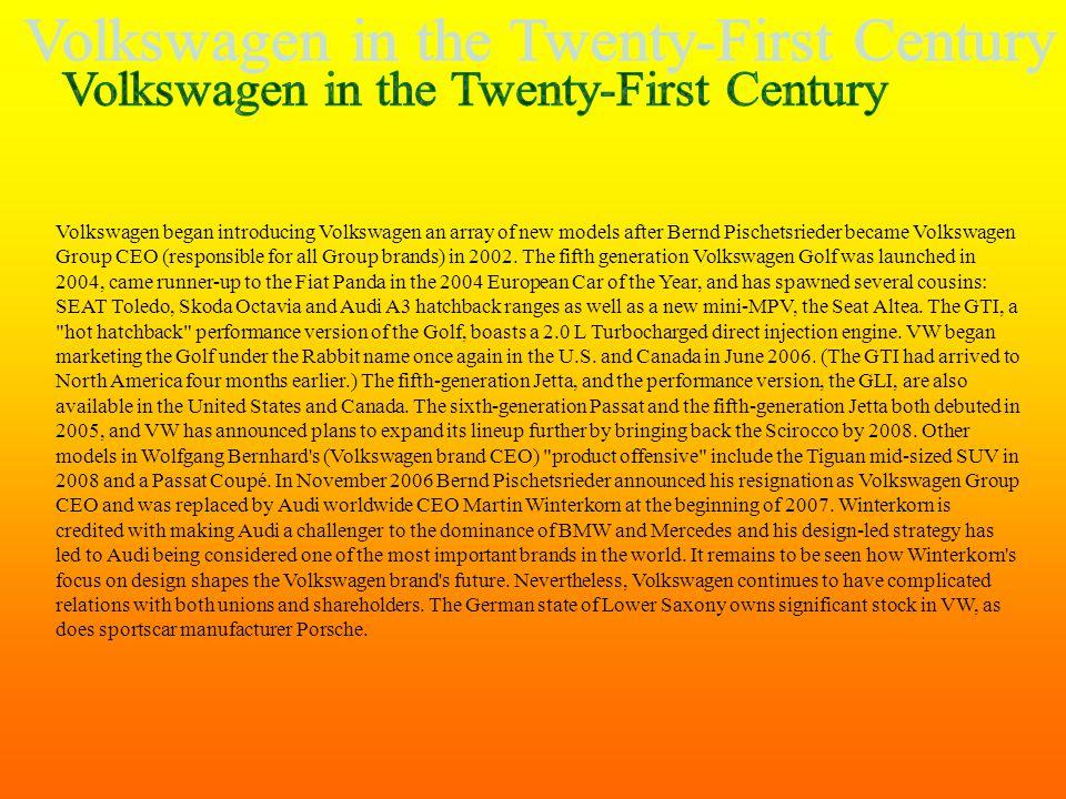 Volkswagen in the Twenty-First Century