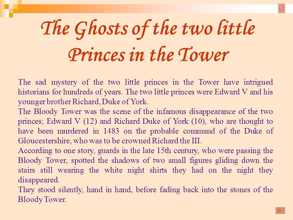 The Ghosts of the two little Princes in the Tower