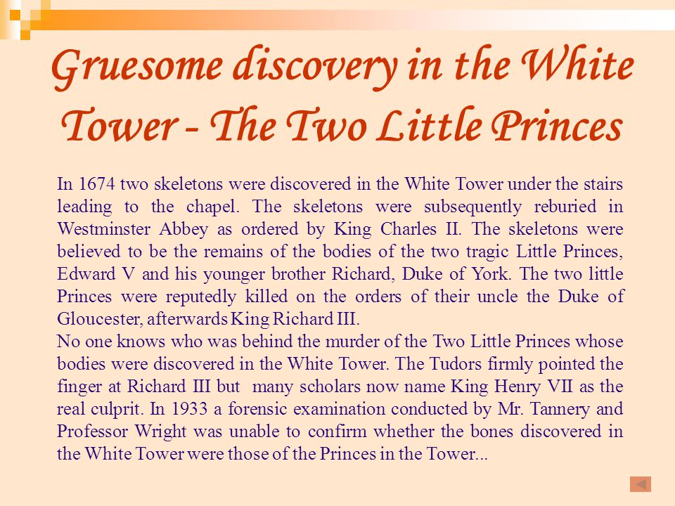 Gruesome discovery in the White Tower - The Two Little Princes