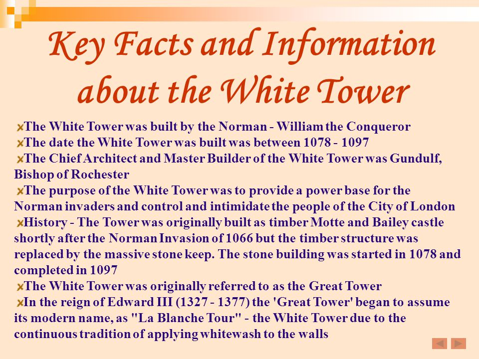 Key Facts and Information about the White Tower