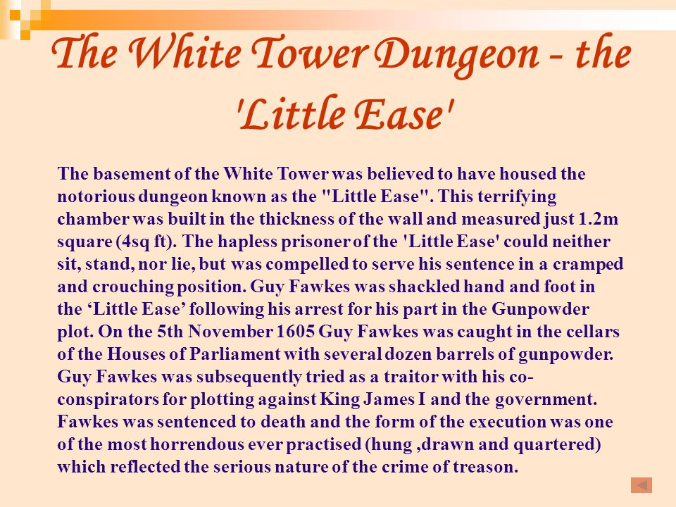 The White Tower Dungeon - the Little Ease