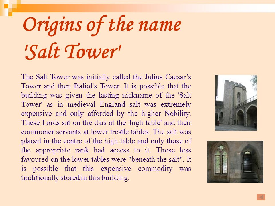 Origins of the name Salt Tower