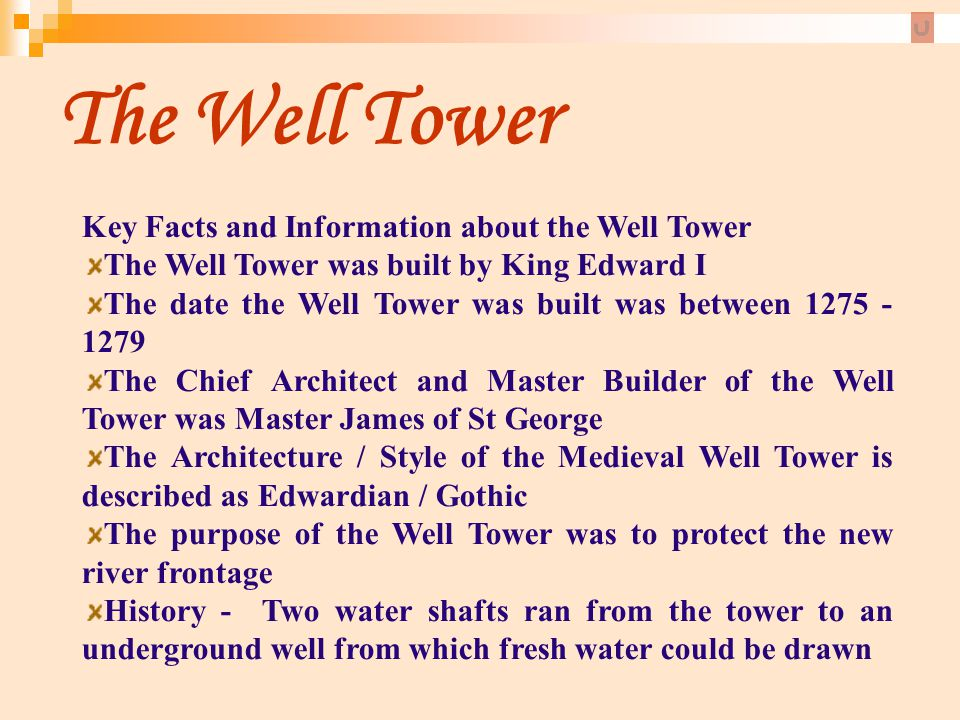 The Well Tower Key Facts and Information about the Well Tower