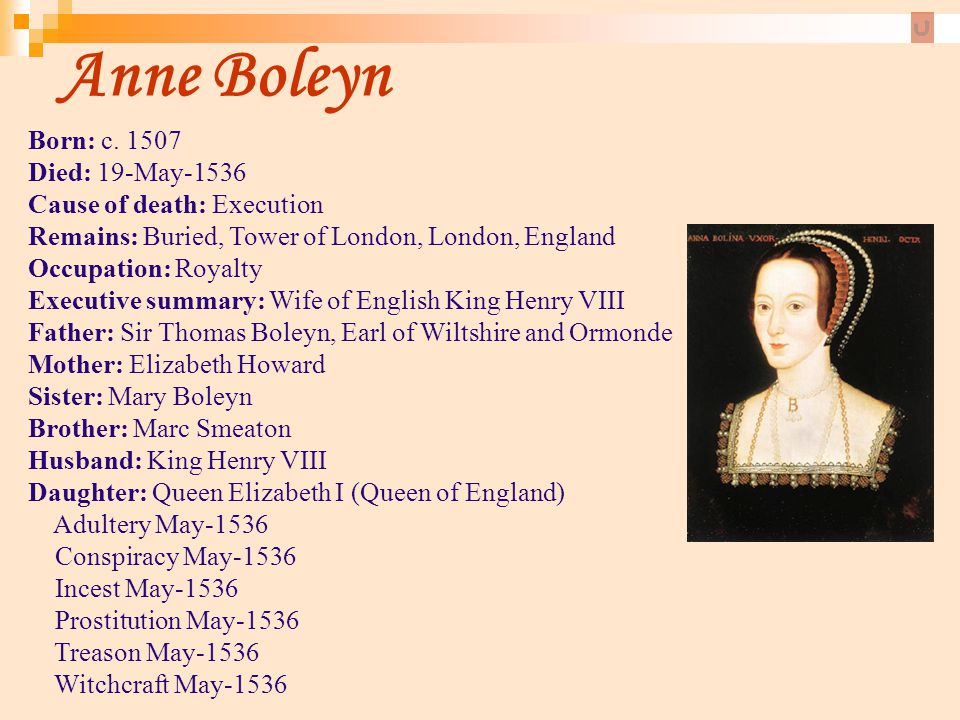 Anne Boleyn Born: c. 1507 Died: 19-May-1536 Cause of death: Execution Remains: Buried, Tower of London, London, England.