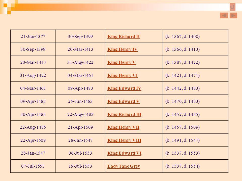 21-Jun-1377 30-Sep-1399. King Richard II. (b. 1367, d. 1400) 20-Mar-1413. King Henry IV. (b. 1366, d. 1413)