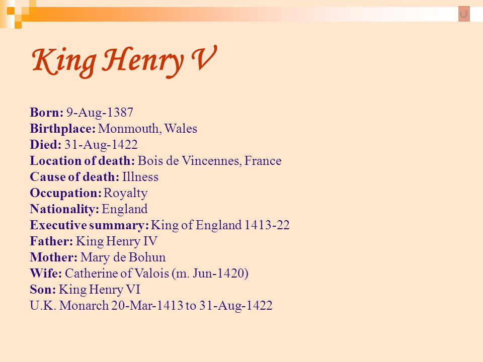 King Henry V Born: 9-Aug-1387 Birthplace: Monmouth, Wales Died: 31-Aug-1422 Location of death: Bois de Vincennes, France Cause of death: Illness.