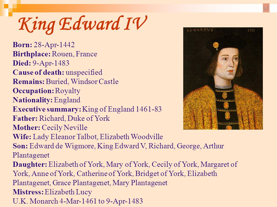 King Edward IV Born: 28-Apr-1442 Birthplace: Rouen, France Died: 9-Apr-1483 Cause of death: unspecified Remains: Buried, Windsor Castle.