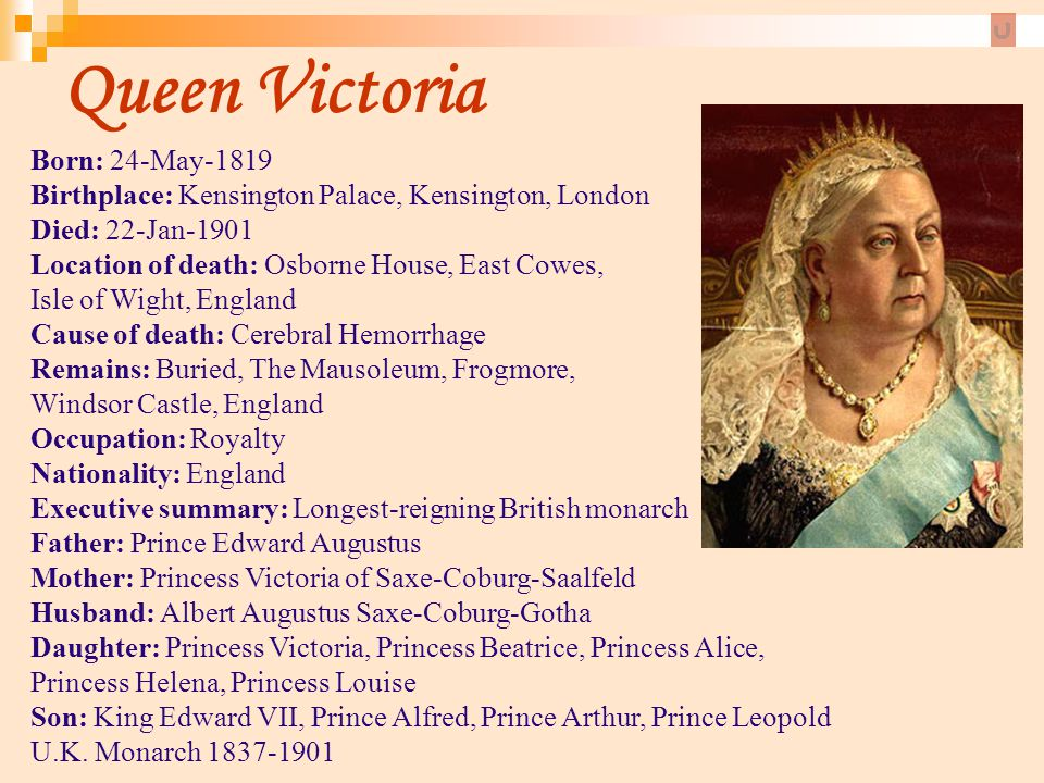 Queen Victoria Born: 24-May-1819 Birthplace: Kensington Palace, Kensington, London. Died: 22-Jan-1901 Location of death: Osborne House, East Cowes,