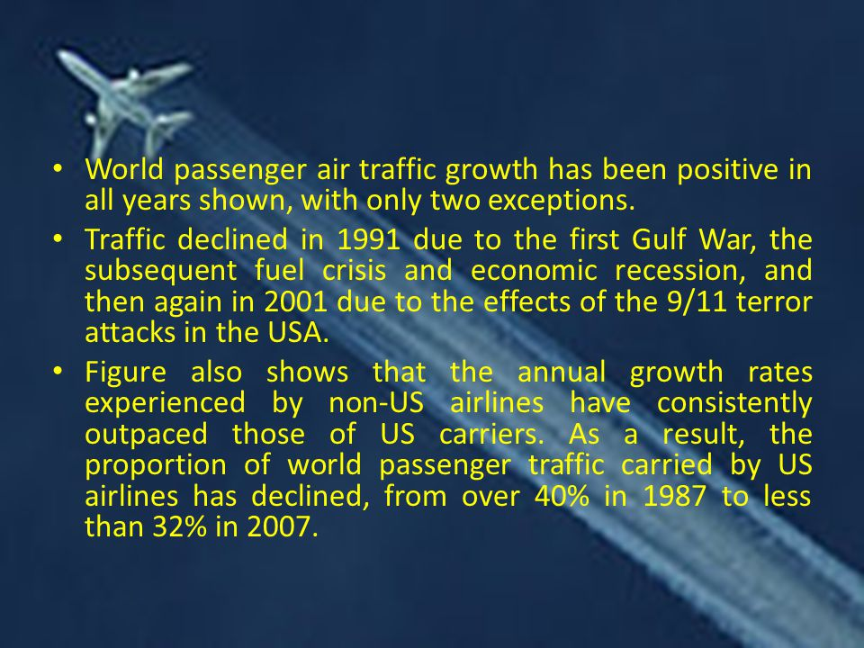 World passenger air traffic growth has been positive in all years shown, with only two exceptions.
