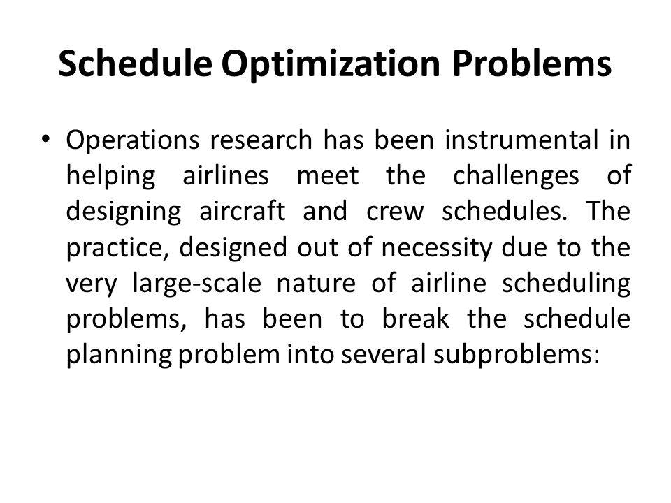 Schedule Optimization Problems