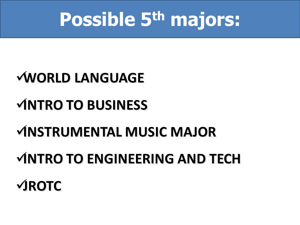 Possible 5th majors: WORLD LANGUAGE INTRO TO BUSINESS