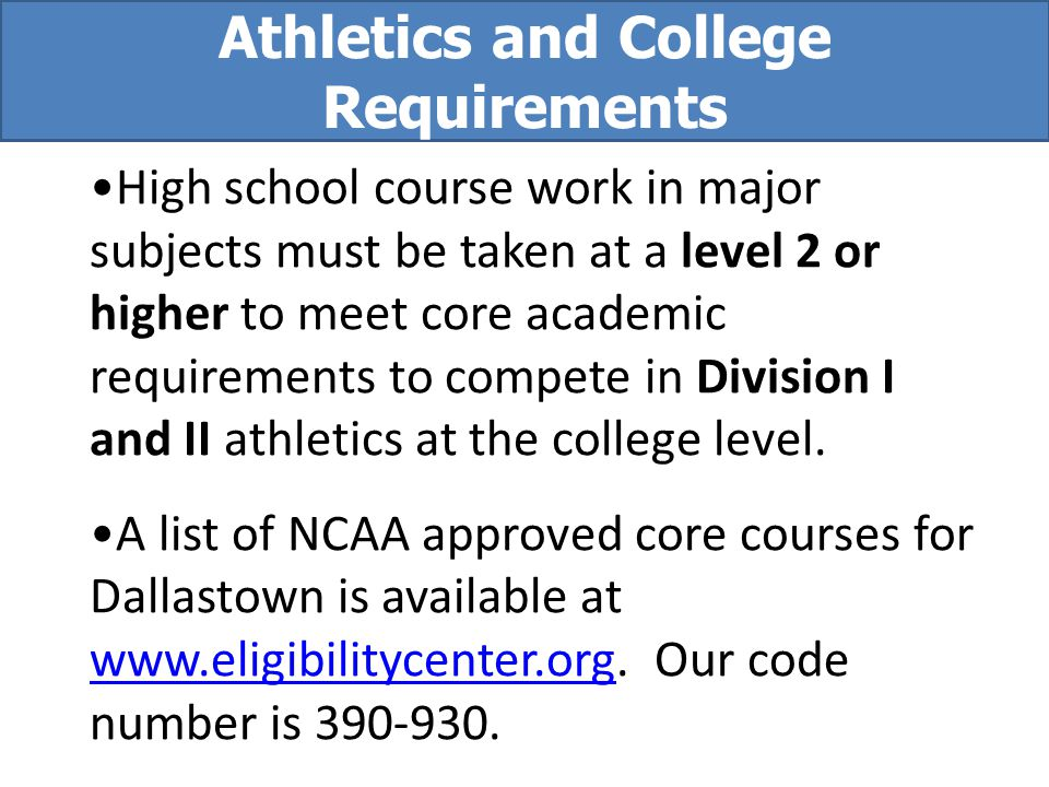 Athletics and College Requirements