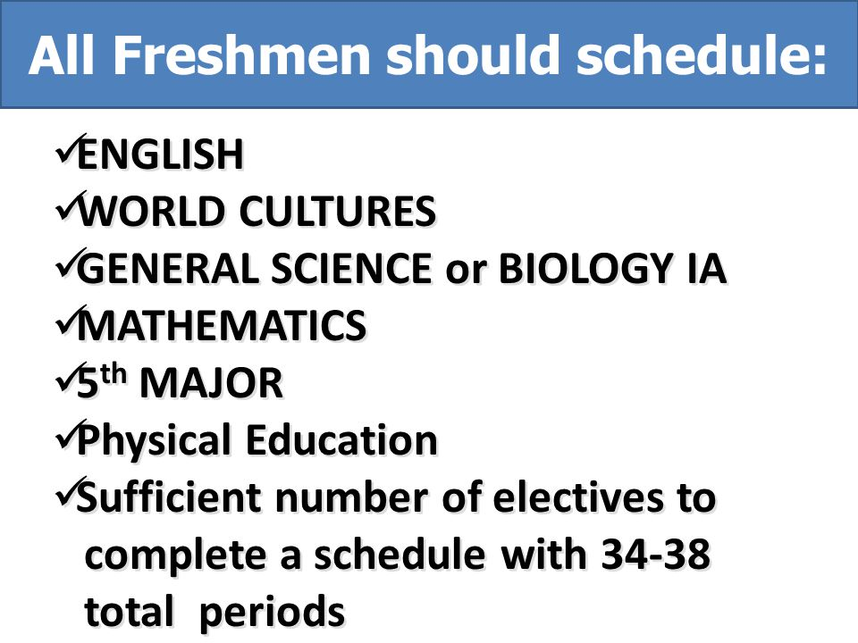 All Freshmen should schedule: