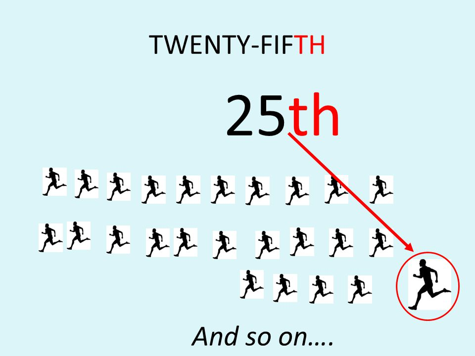 TWENTY-FIFTH 25th And so on….