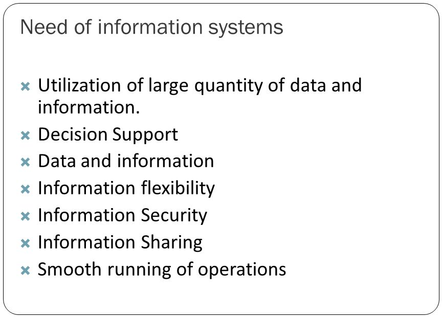 Need of information systems