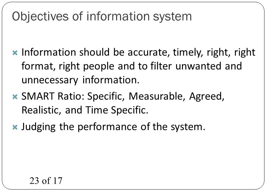 Objectives of information system