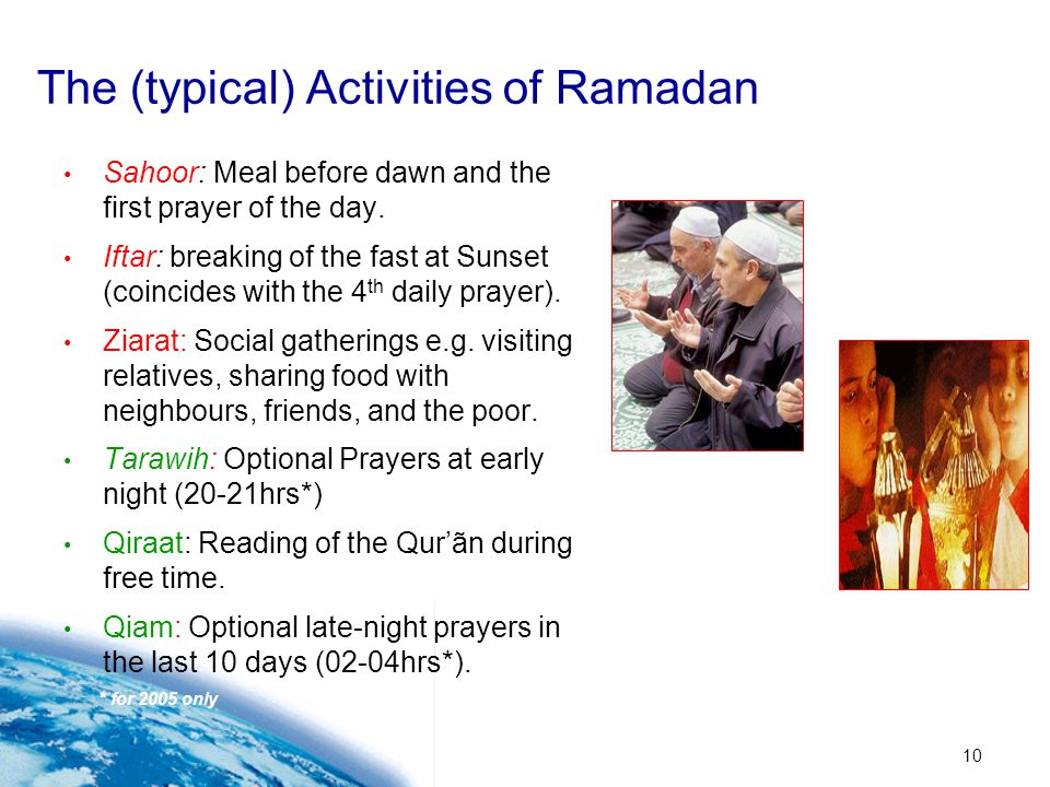 The (typical) Activities of Ramadan