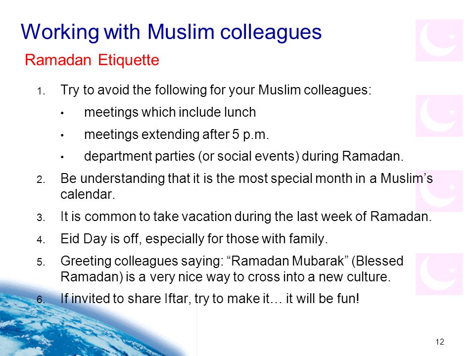 Working with Muslim colleagues
