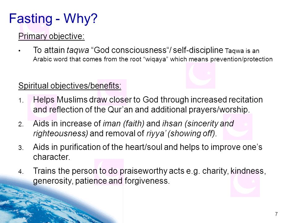 Fasting - Why Primary objective: