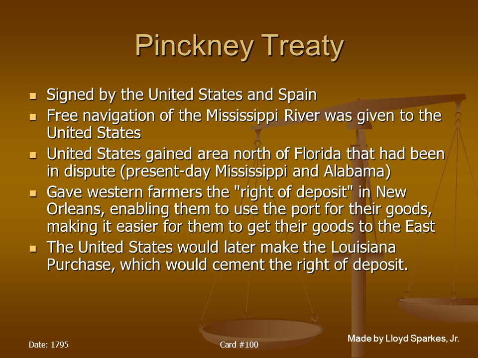 Pinckney Treaty Signed by the United States and Spain
