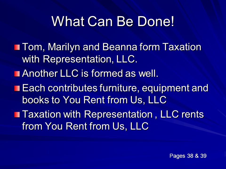 What Can Be Done! Tom, Marilyn and Beanna form Taxation with Representation, LLC. Another LLC is formed as well.