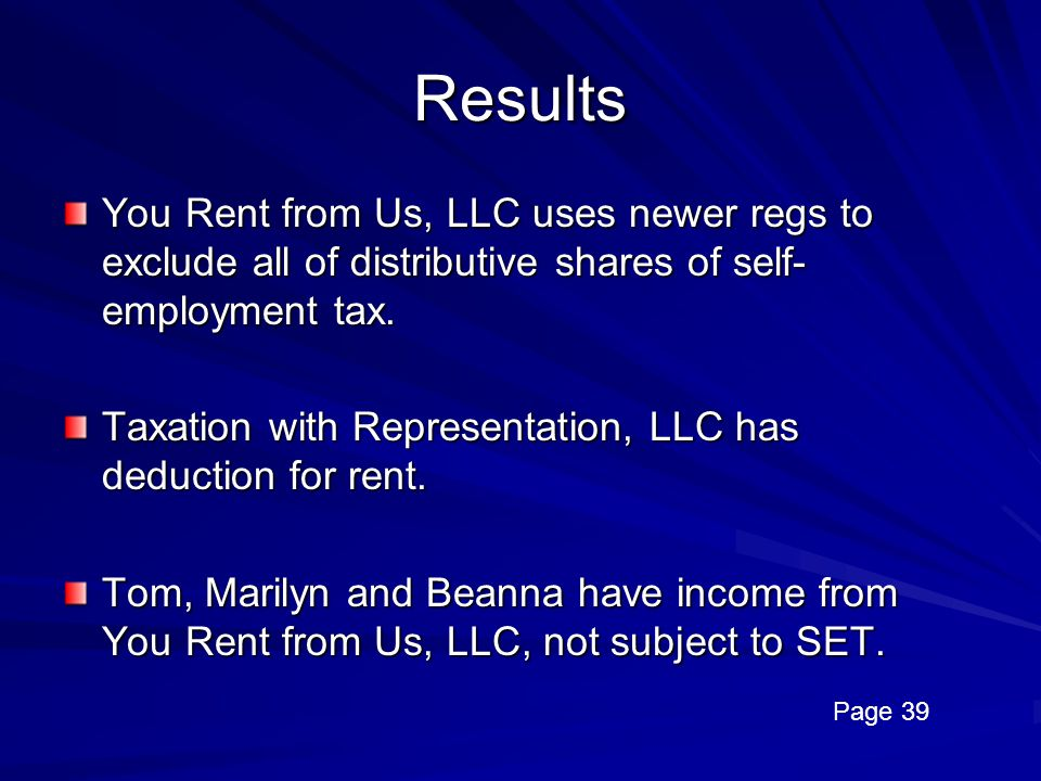 Results You Rent from Us, LLC uses newer regs to exclude all of distributive shares of self-employment tax.