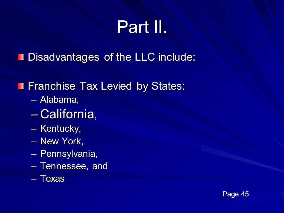 Part II. California, Disadvantages of the LLC include: