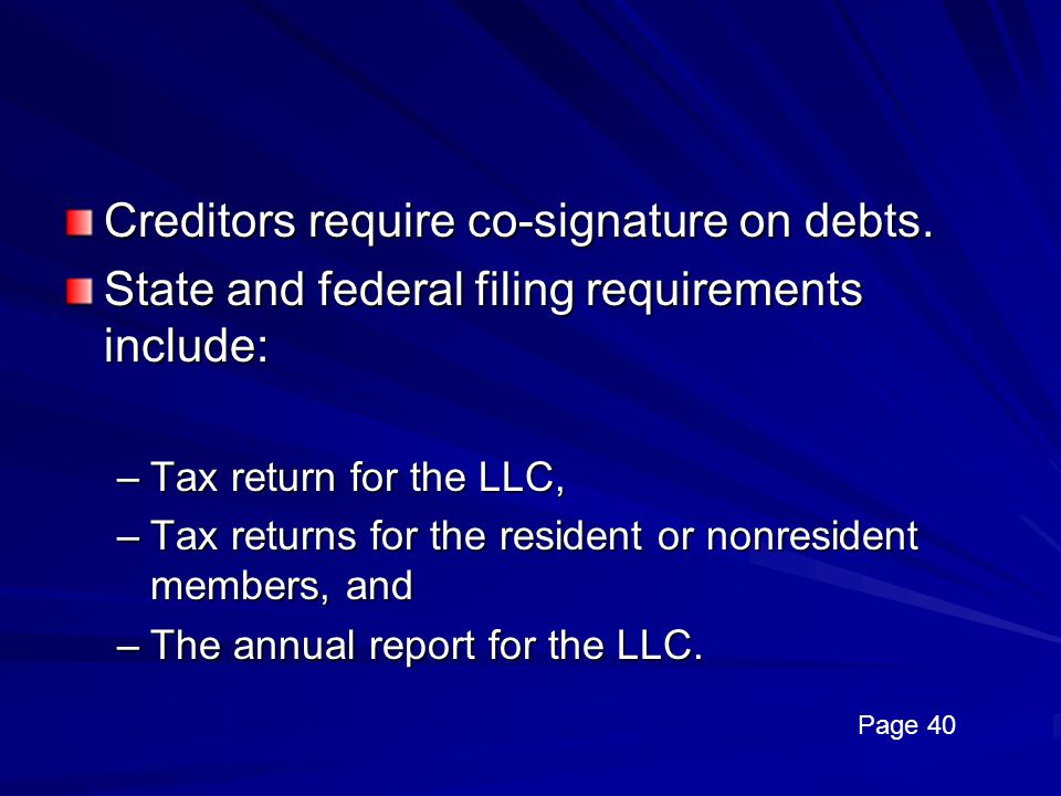 Creditors require co-signature on debts.
