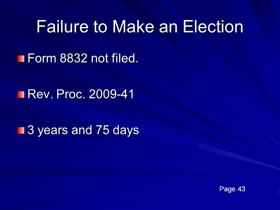 Failure to Make an Election