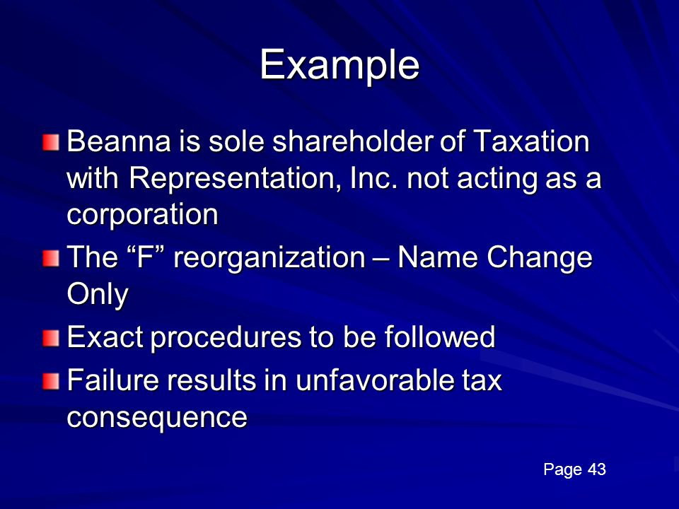 Example Beanna is sole shareholder of Taxation with Representation, Inc. not acting as a corporation.