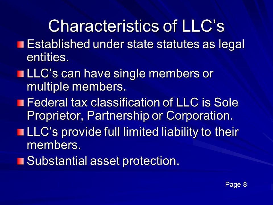 Characteristics of LLC's