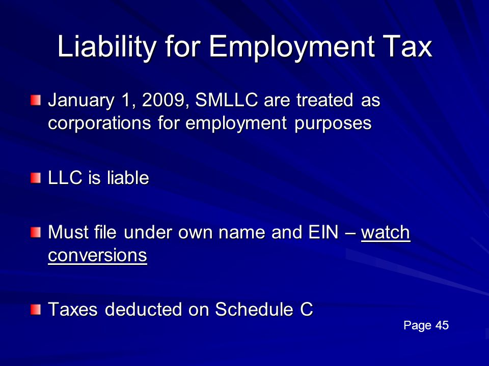 Liability for Employment Tax