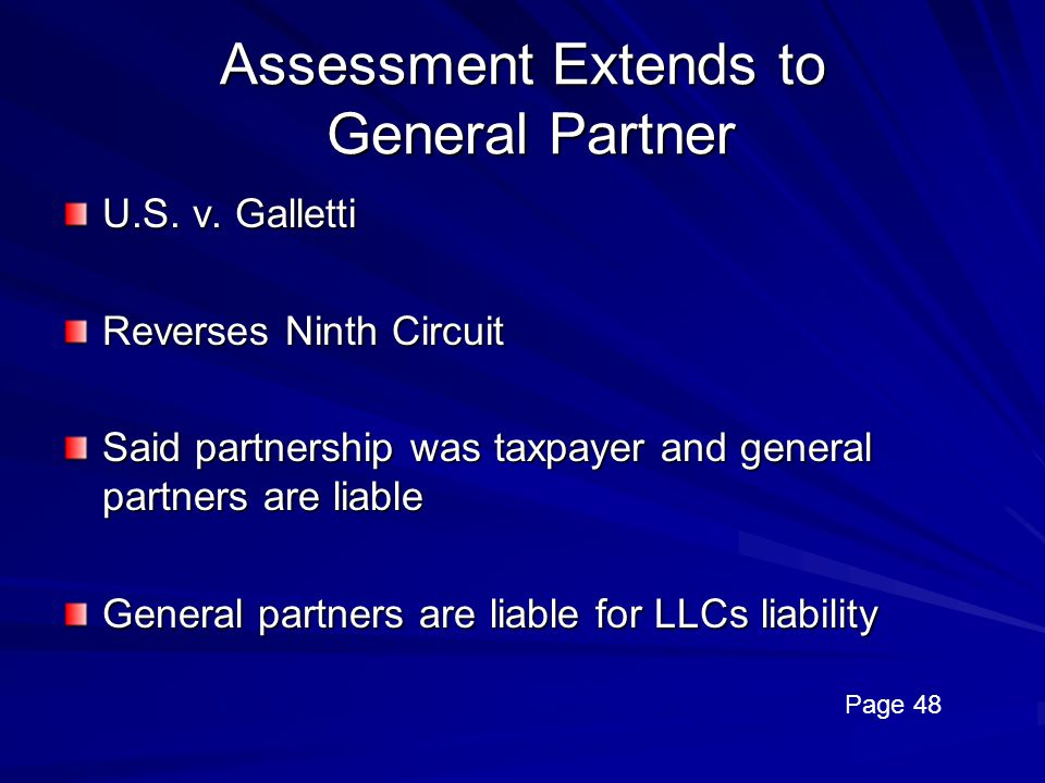 Assessment Extends to General Partner