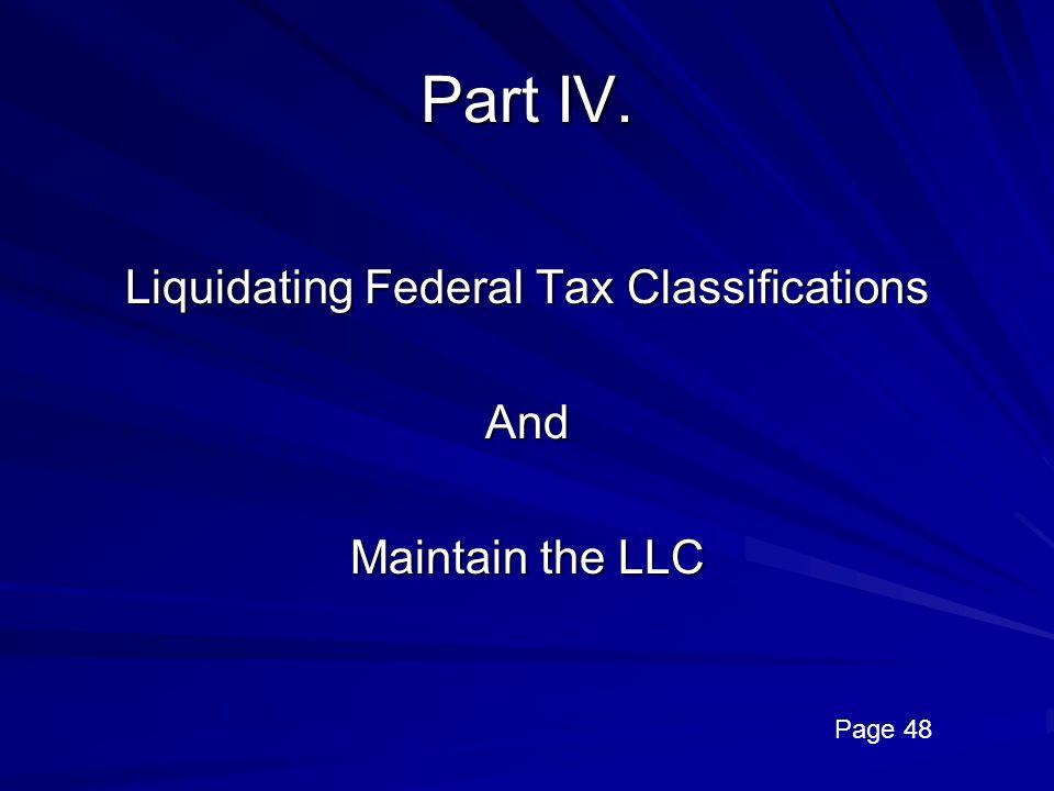 Liquidating Federal Tax Classifications